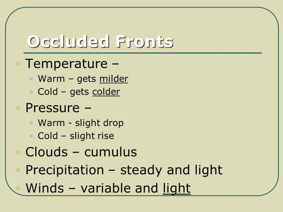 Occluded Fronts Temperature – Pressure – Clouds – cumulus