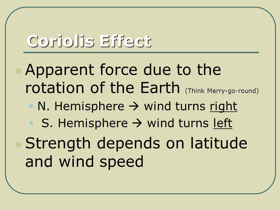 Coriolis Effect Apparent force due to the rotation of the Earth (Think Merry-go-round) N. Hemisphere  wind turns right.