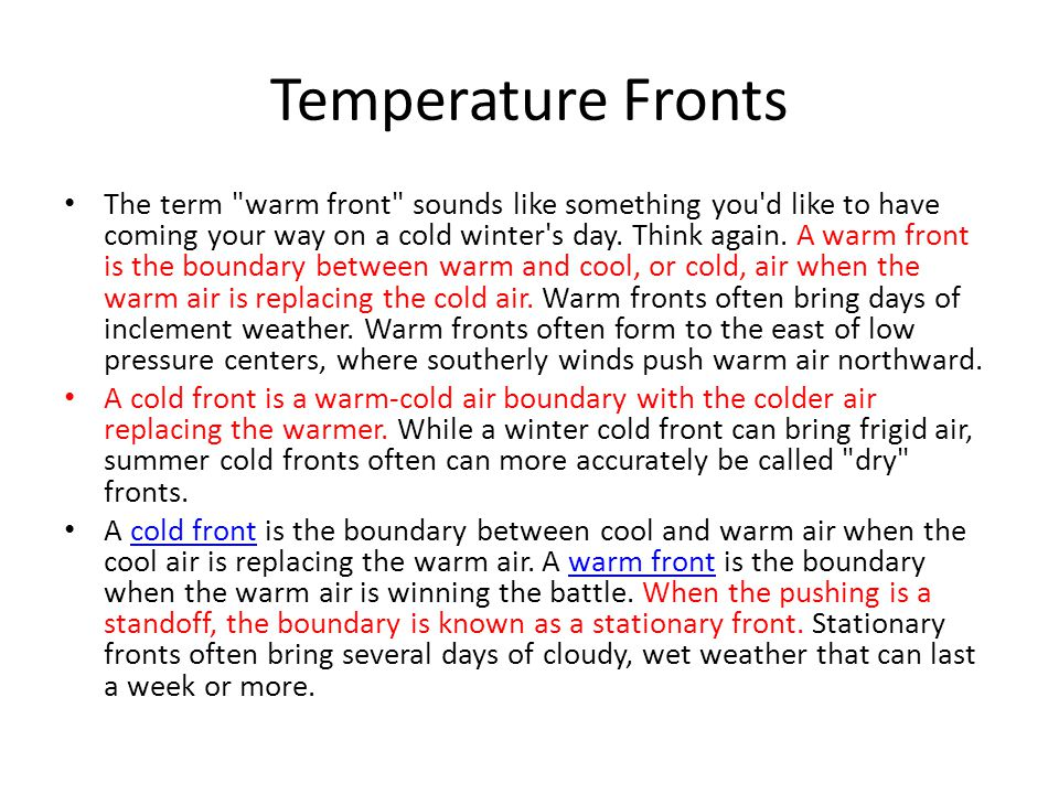 Temperature Fronts