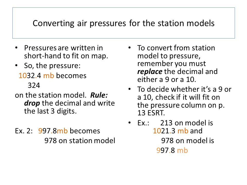 Converting air pressures for the station models
