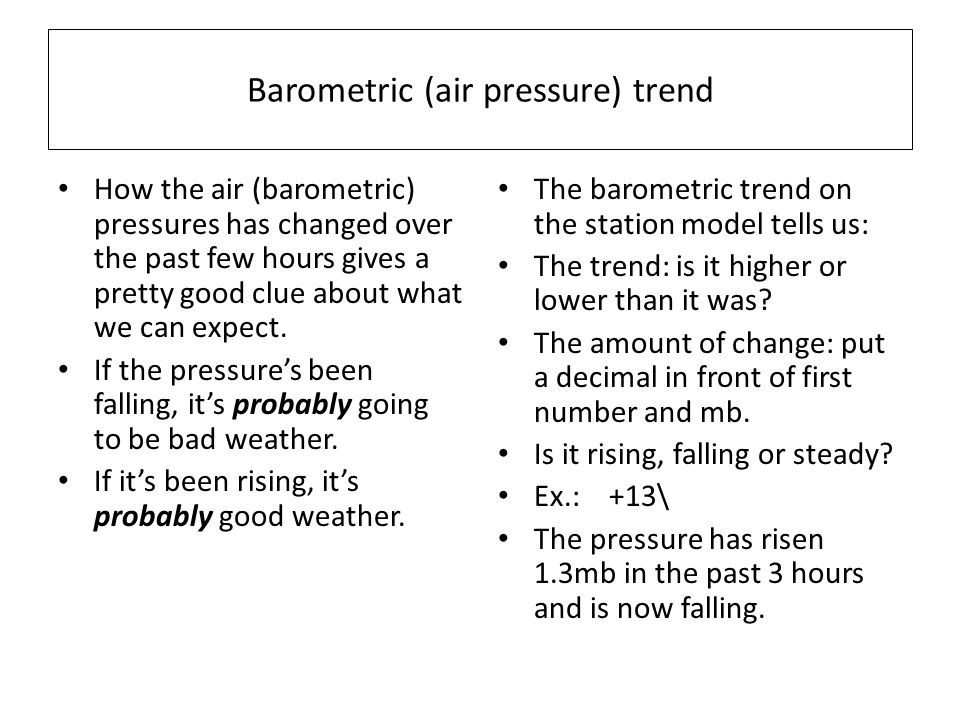Barometric (air pressure) trend