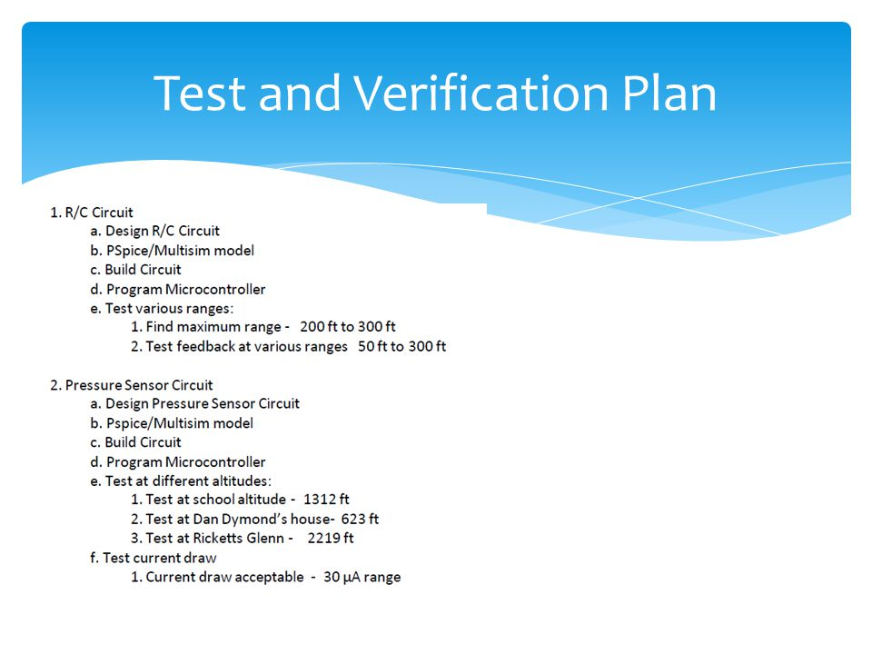 Test and Verification Plan