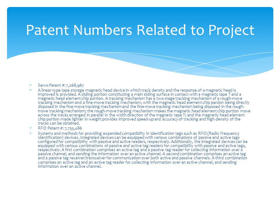 Patent Numbers Related to Project