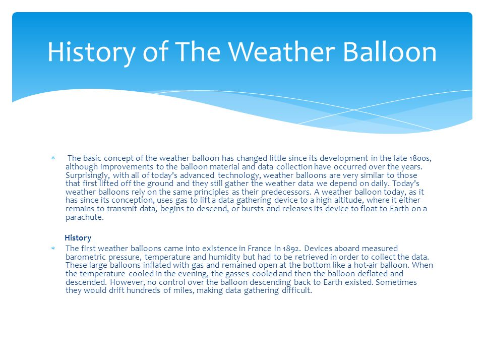 History of The Weather Balloon