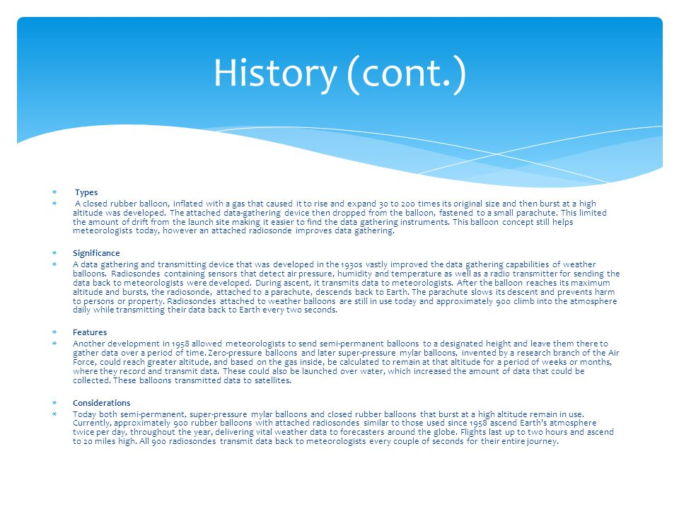History (cont.) Types.