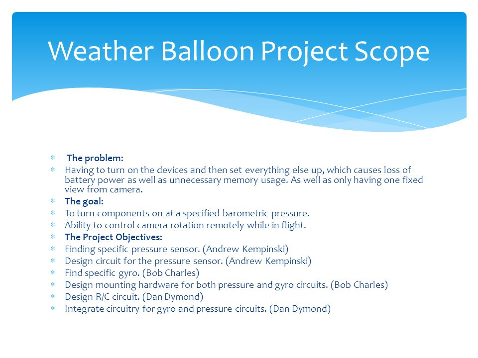 Weather Balloon Project Scope