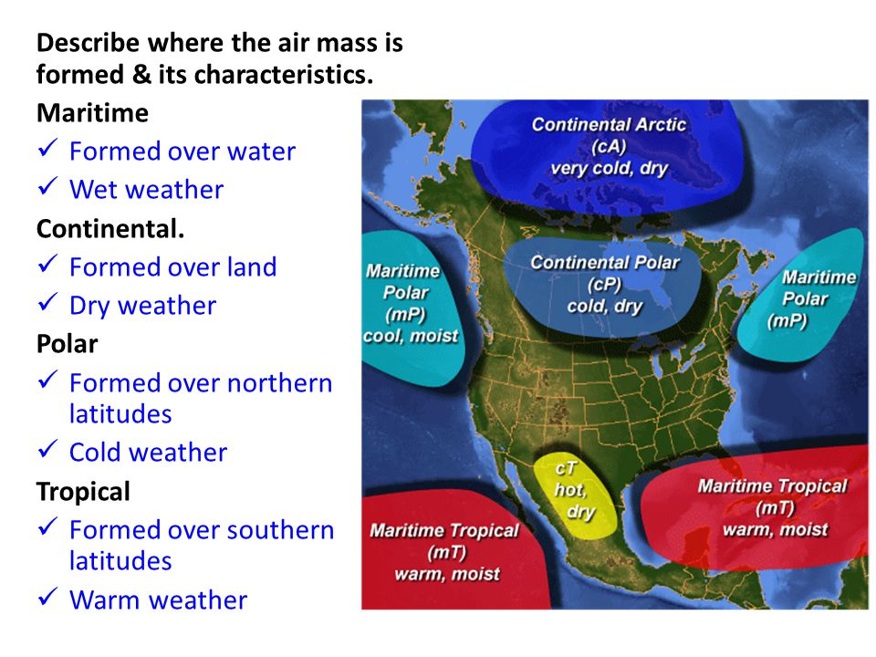 Describe where the air mass is formed & its characteristics.