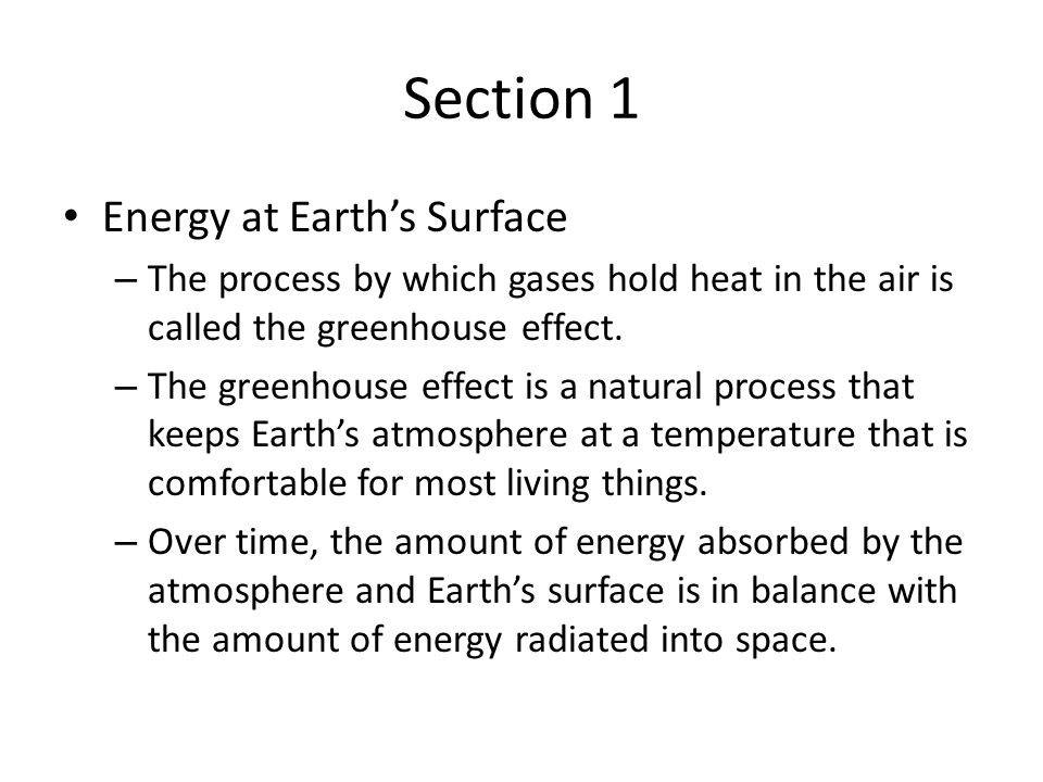 Section 1 Energy at Earth's Surface