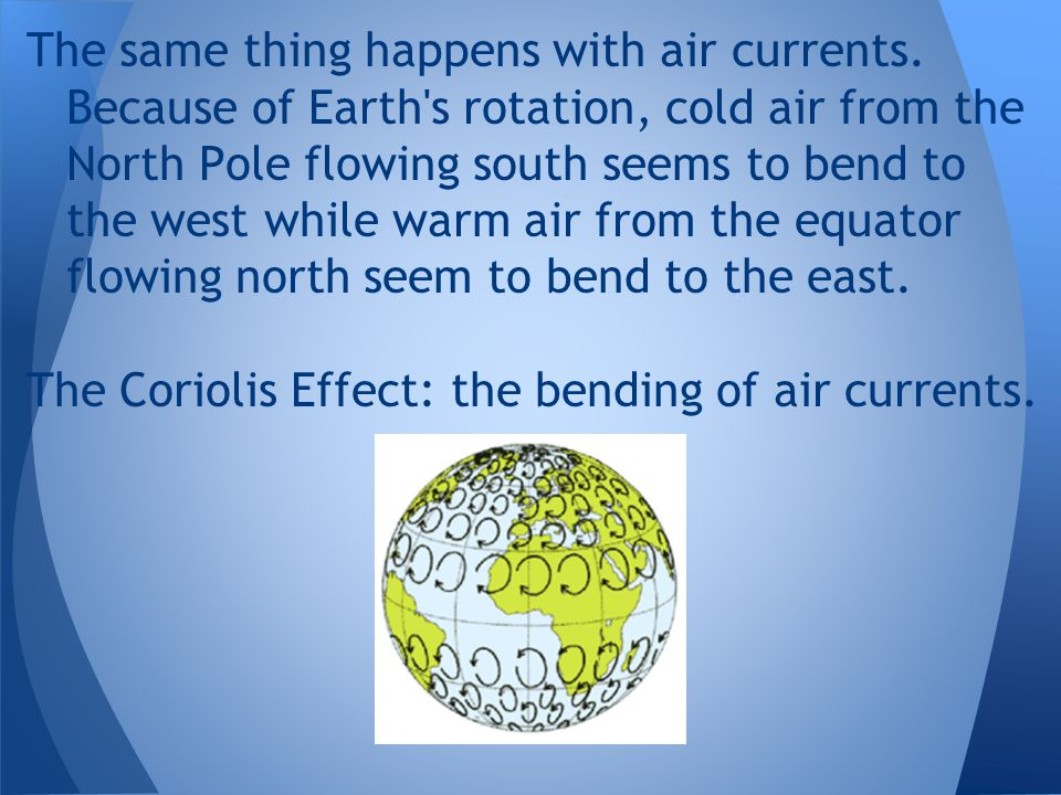 The same thing happens with air currents