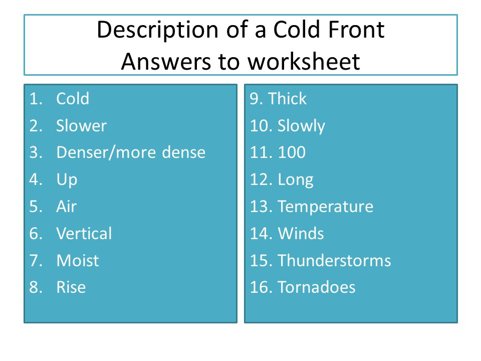 Description of a Cold Front Answers to worksheet