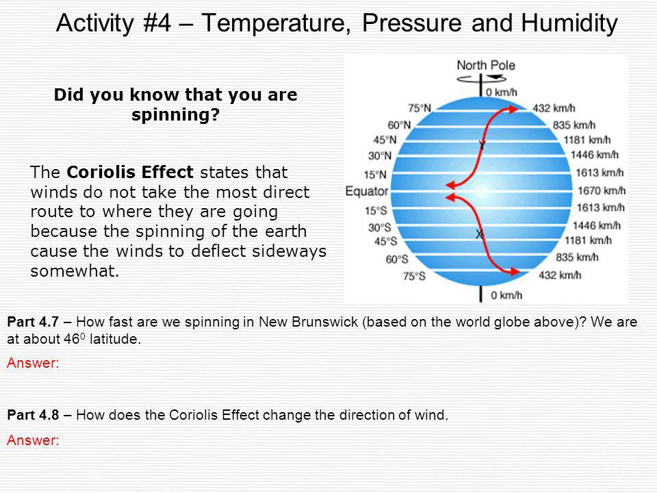 Activity #4 – Temperature, Pressure and Humidity