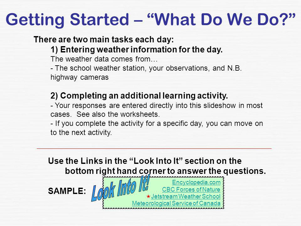 Getting Started – What Do We Do