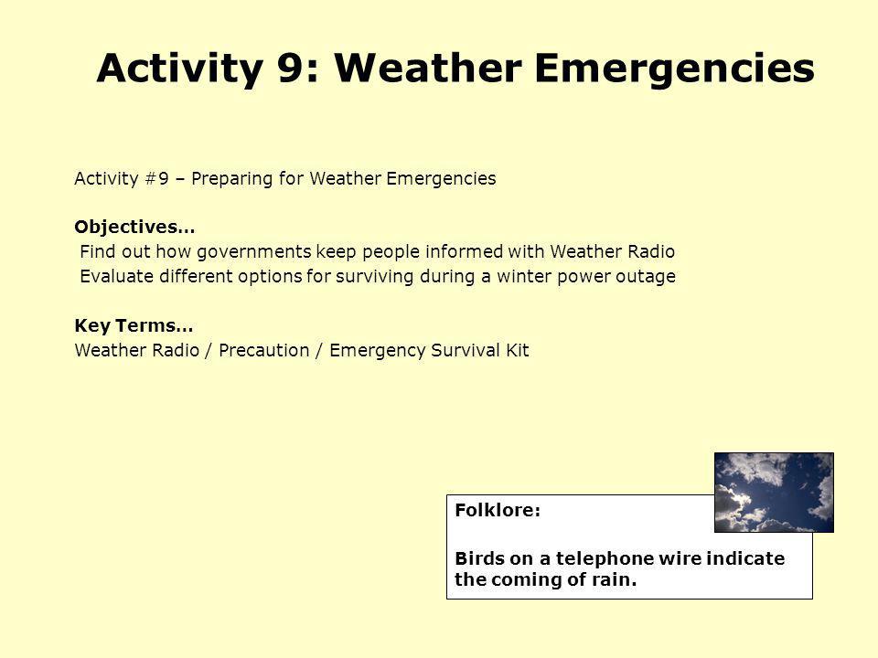 Activity 9: Weather Emergencies
