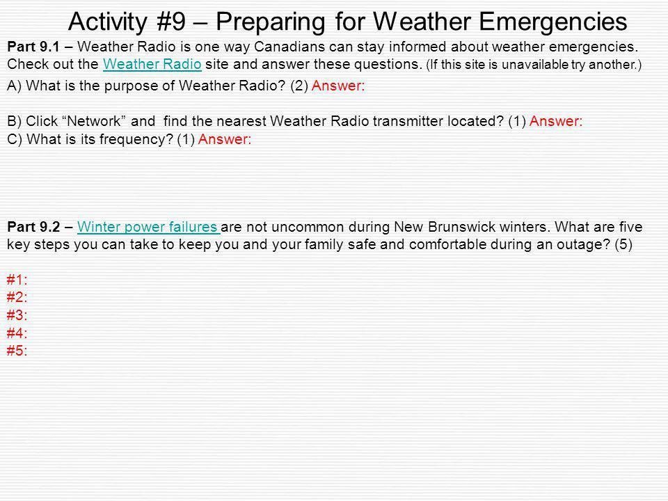 Activity #9 – Preparing for Weather Emergencies