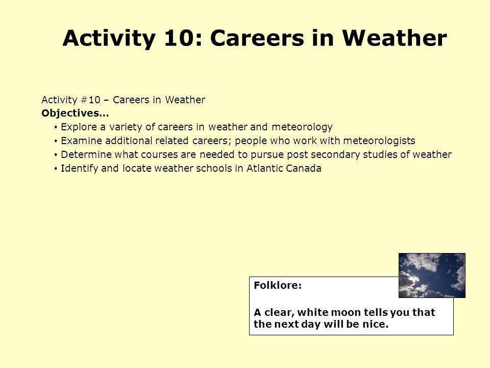 Activity 10: Careers in Weather