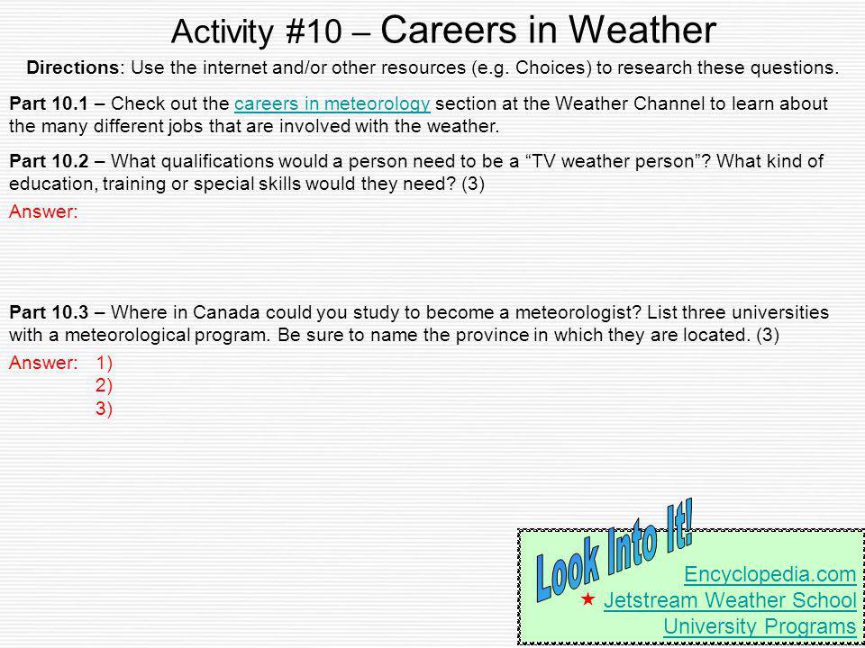 Activity #10 – Careers in Weather
