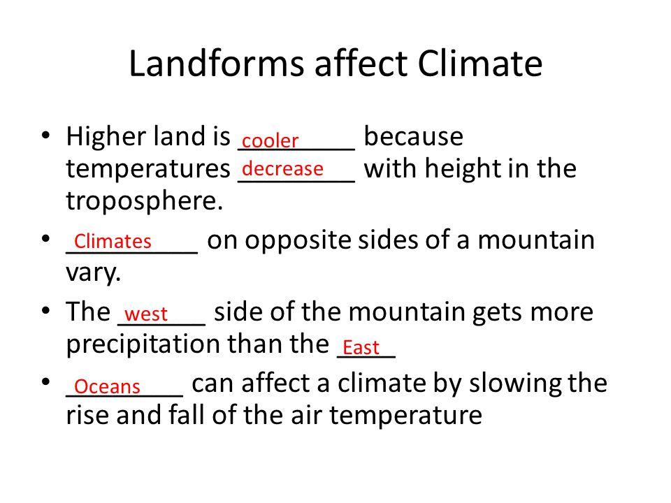 Landforms affect Climate