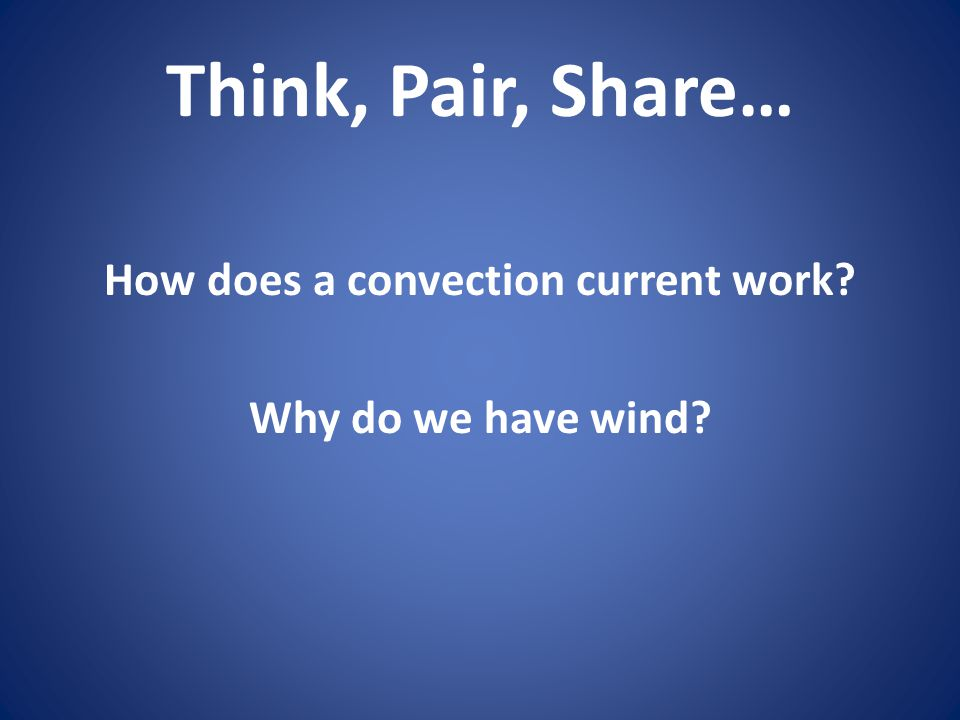 How does a convection current work Why do we have wind