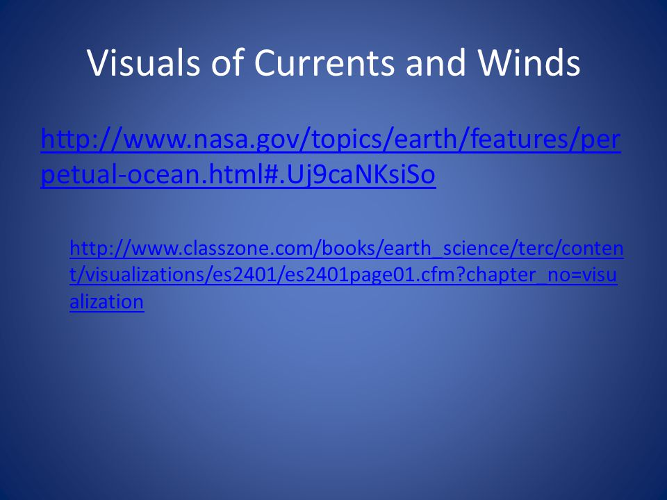 Visuals of Currents and Winds
