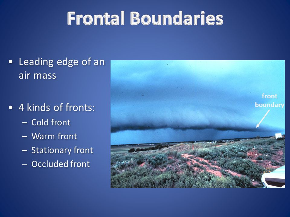 Frontal Boundaries Leading edge of an air mass 4 kinds of fronts: