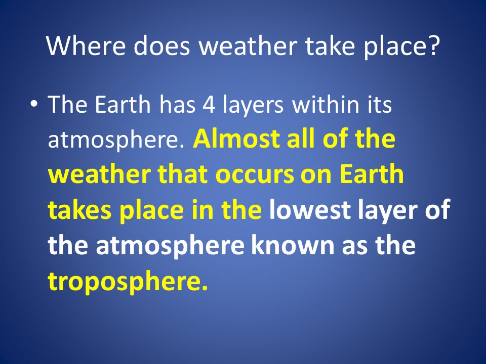 Where does weather take place