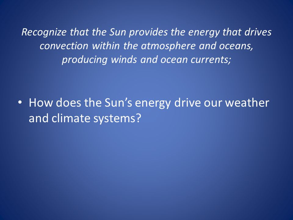 How does the Sun's energy drive our weather and climate systems