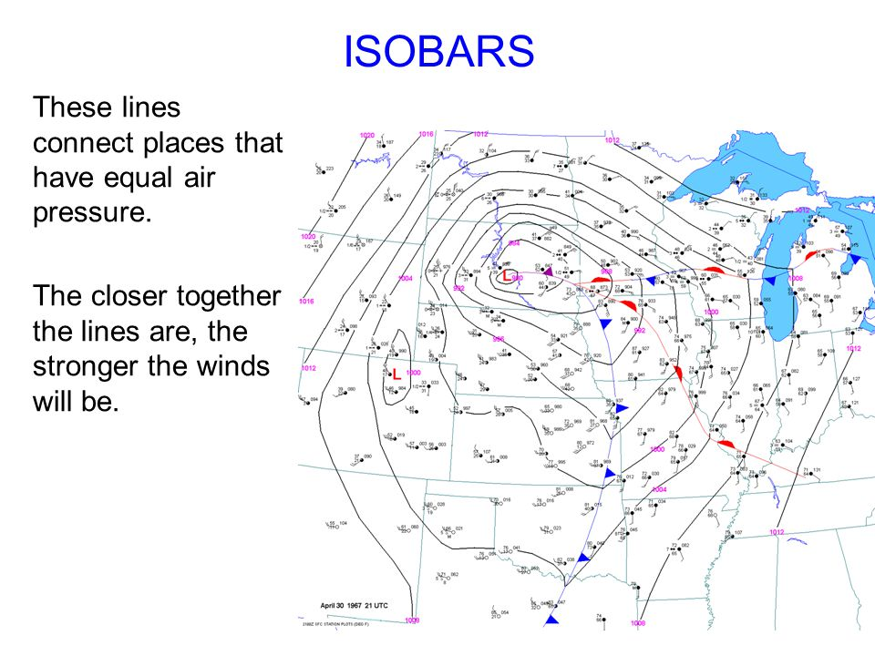 ISOBARS These lines connect places that have equal air pressure.