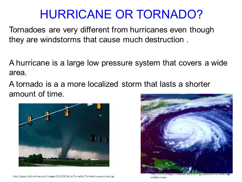 HURRICANE OR TORNADO Tornadoes are very different from hurricanes even though they are windstorms that cause much destruction .