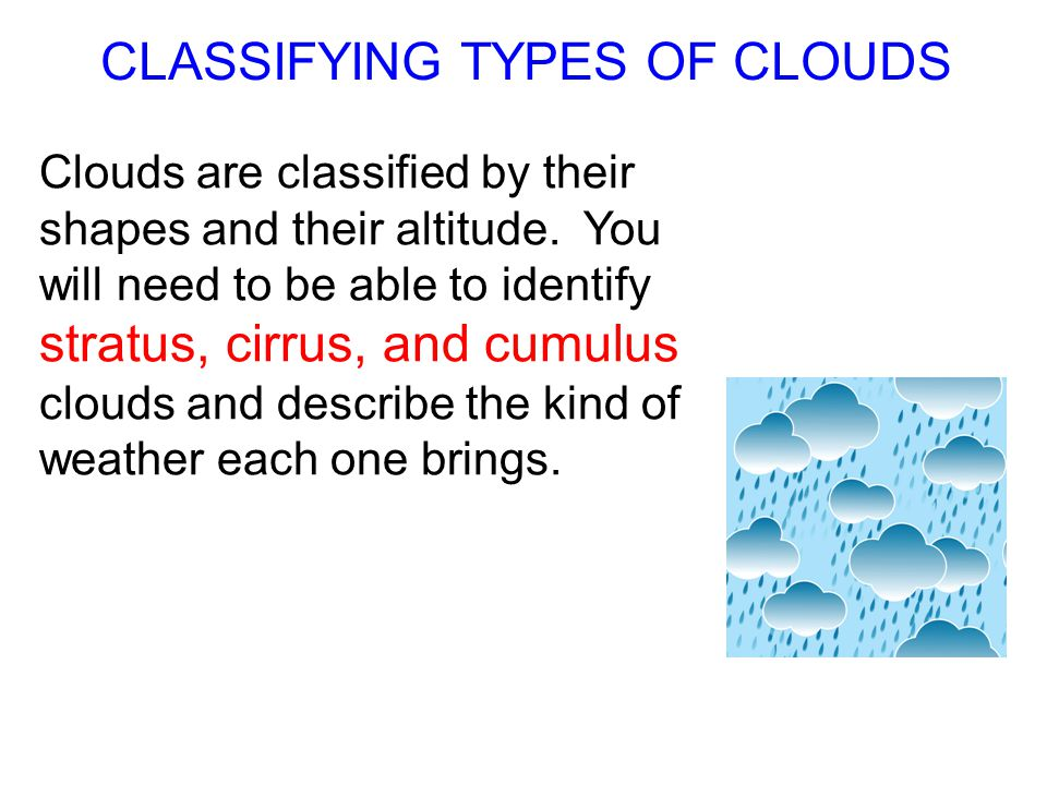CLASSIFYING TYPES OF CLOUDS
