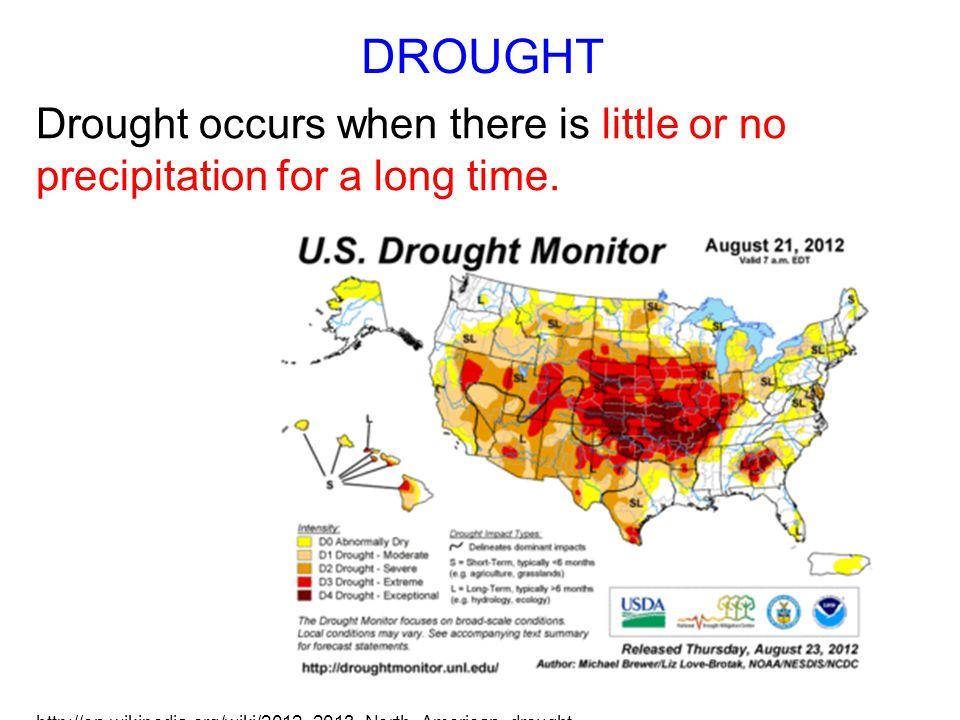DROUGHT Drought occurs when there is little or no precipitation for a long time.