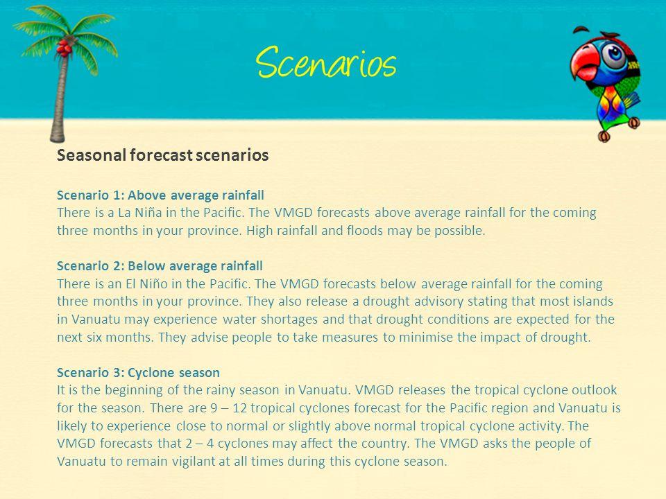 Seasonal forecast scenarios
