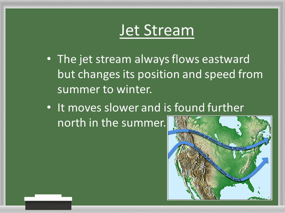 Jet Stream The jet stream always flows eastward but changes its position and speed from summer to winter.