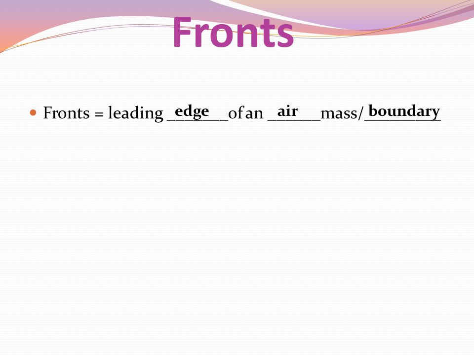 Fronts Fronts = leading _______of an ______mass/_________ edge air