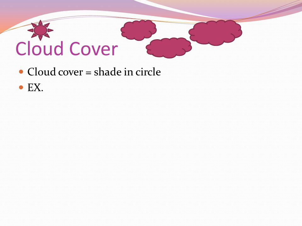 Cloud Cover Cloud cover = shade in circle EX.