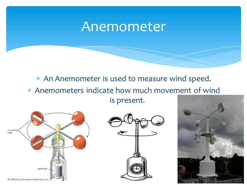 Anemometer An Anemometer is used to measure wind speed.