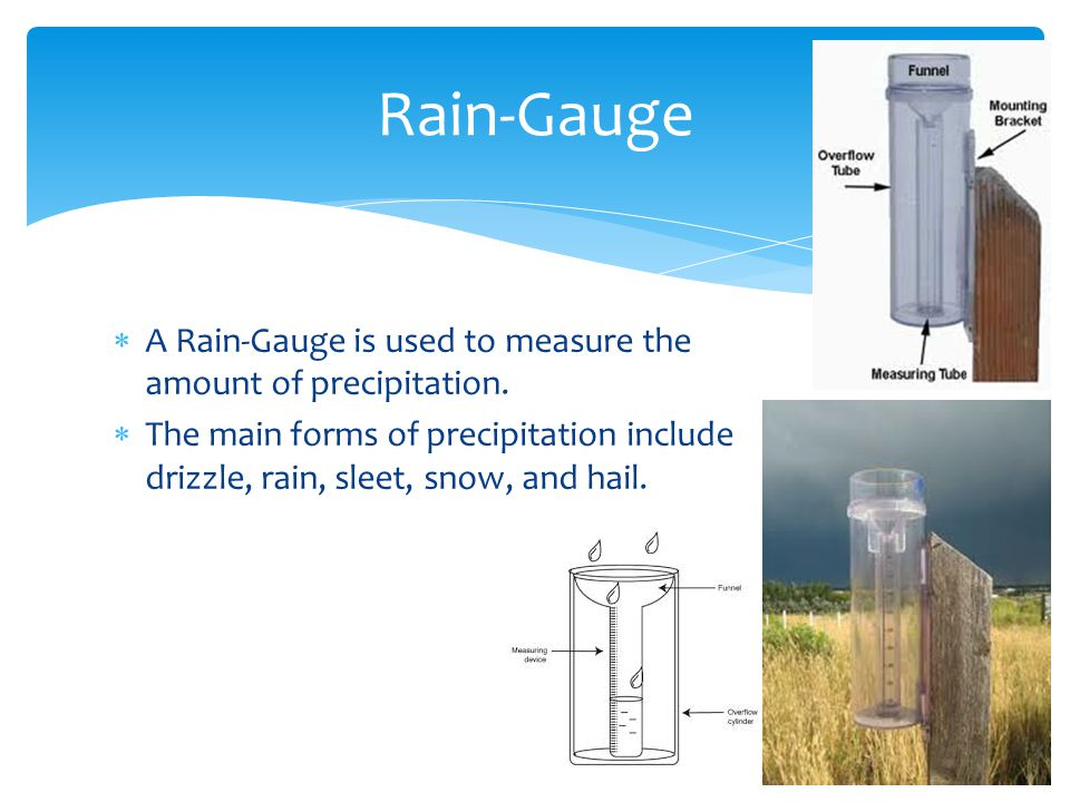 Rain-Gauge A Rain-Gauge is used to measure the amount of precipitation.