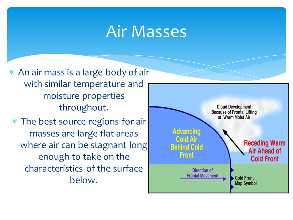 Air Masses An air mass is a large body of air with similar temperature and moisture properties throughout.