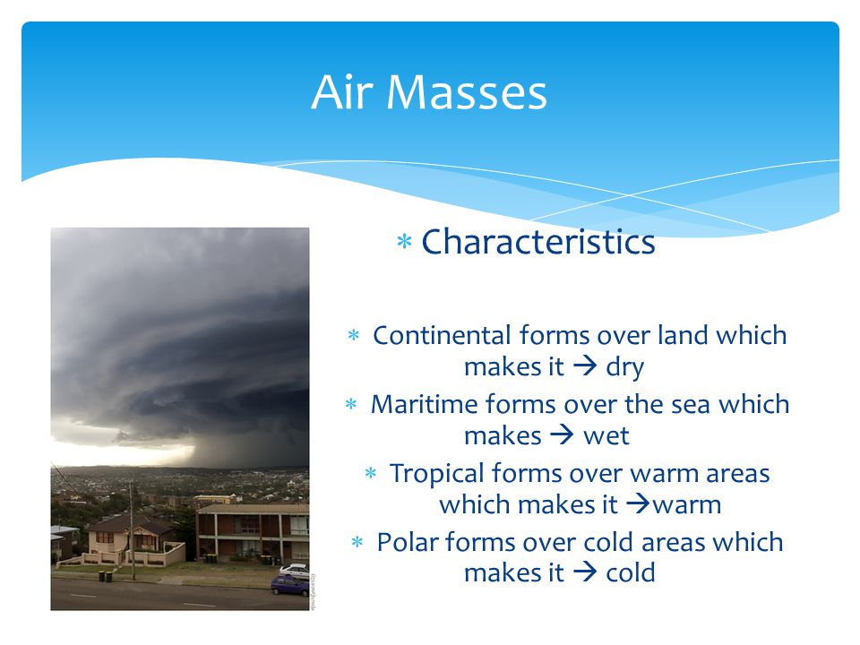 Air Masses Characteristics