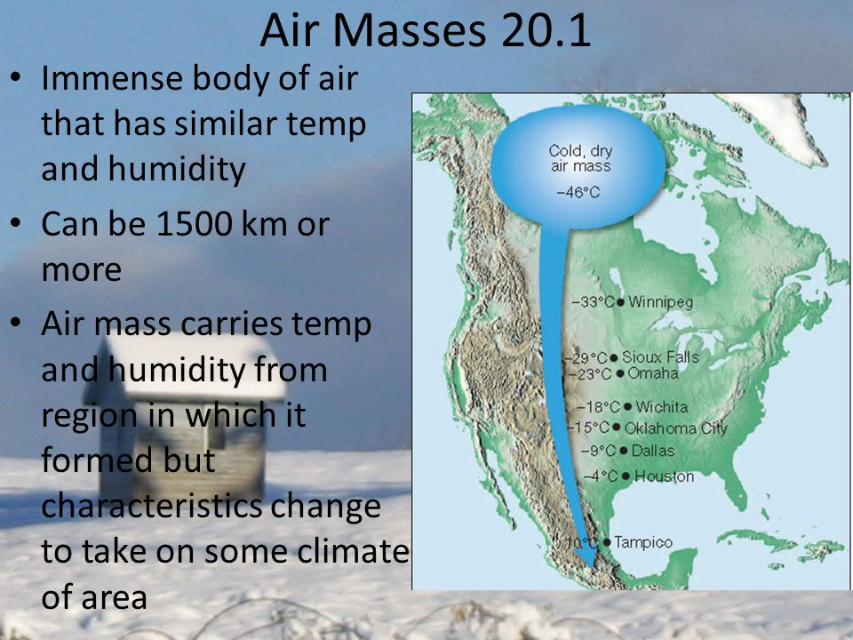 Air Masses 20.1 Immense body of air that has similar temp and humidity