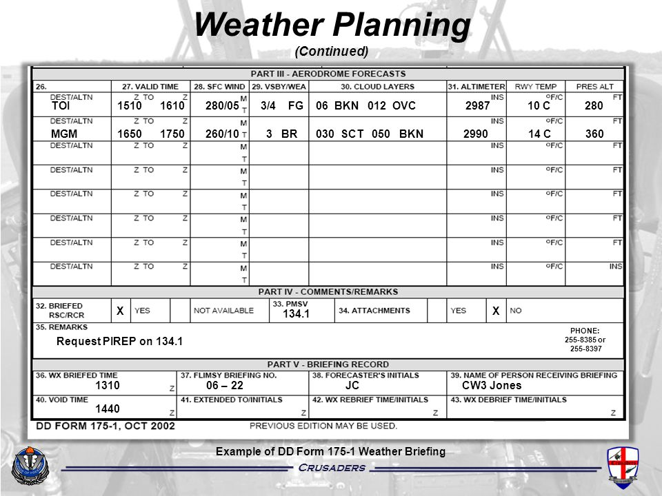 Weather Planning (Continued) Example of DD Form 175-1 Weather Briefing