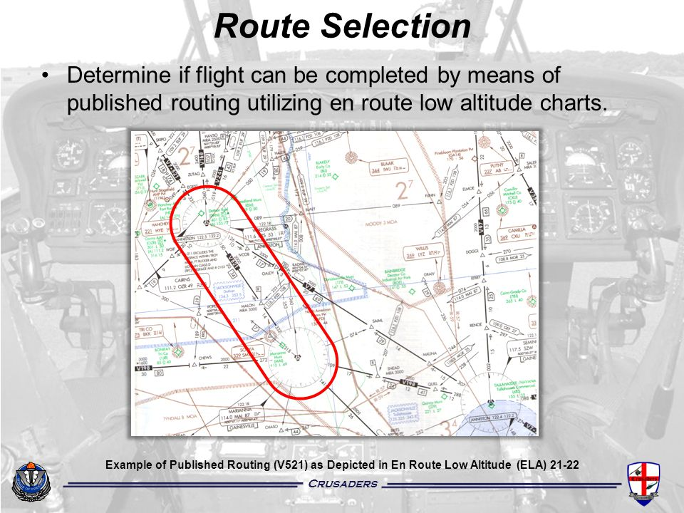 Route Selection Determine if flight can be completed by means of published routing utilizing en route low altitude charts.