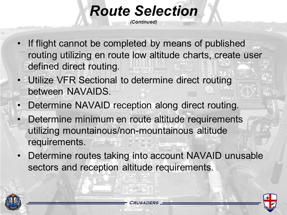 Route Selection (Continued)