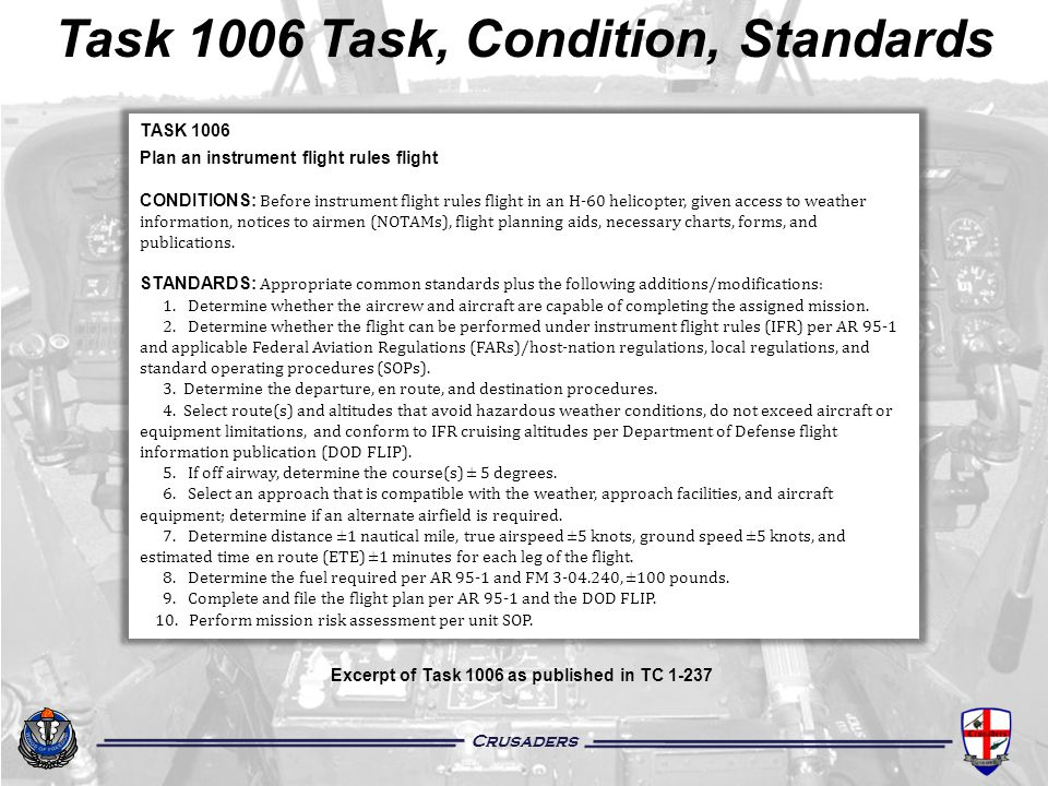 Task 1006 Task, Condition, Standards
