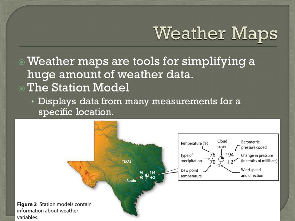 Weather Maps Weather maps are tools for simplifying a huge amount of weather data. The Station Model.