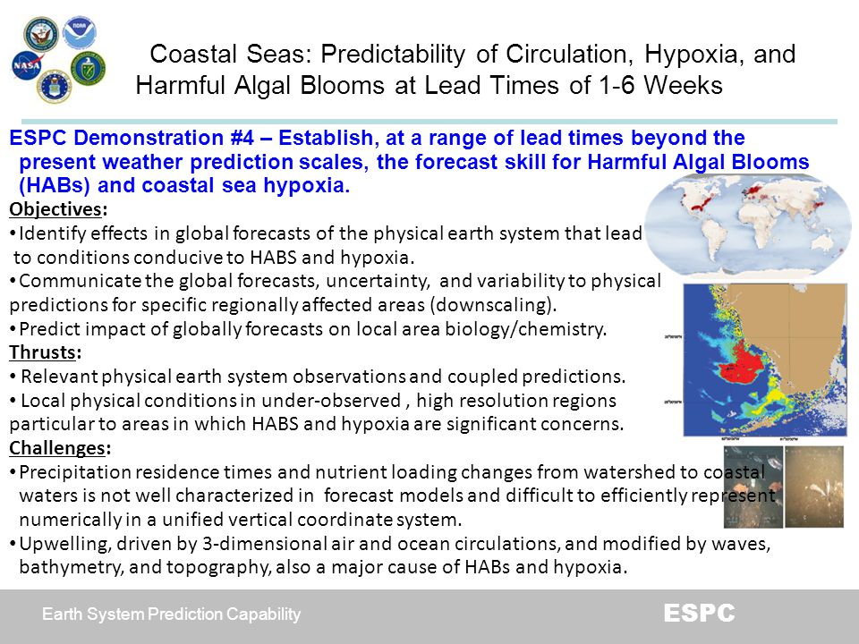 Coastal Seas: Predictability of Circulation, Hypoxia, and Harmful Algal Blooms at Lead Times of 1-6 Weeks