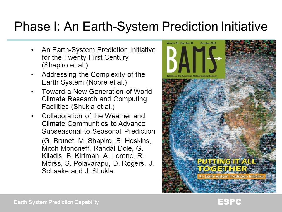 Phase I: An Earth-System Prediction Initiative