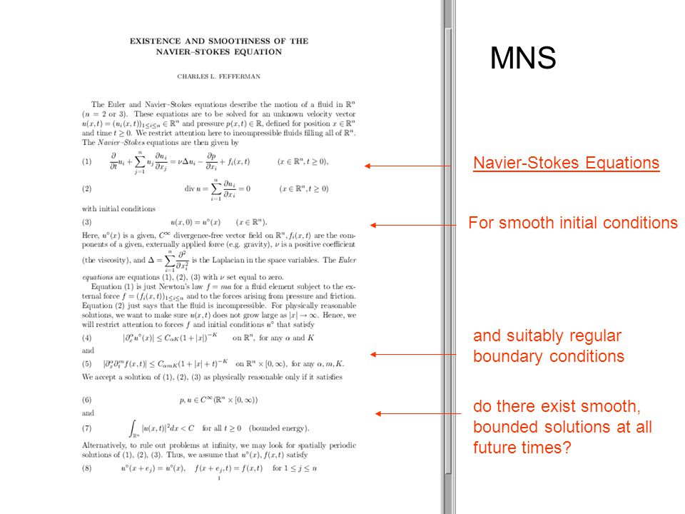 MNS Navier-Stokes Equations For smooth initial conditions