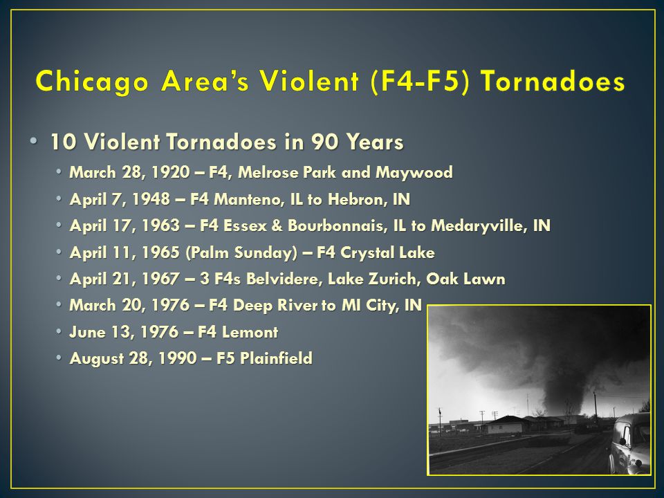 Chicago Area's Violent (F4-F5) Tornadoes
