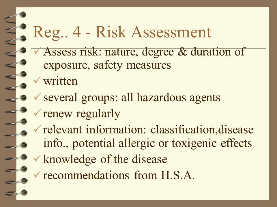 Reg.. 4 - Risk Assessment Assess risk: nature, degree & duration of exposure, safety measures. written.