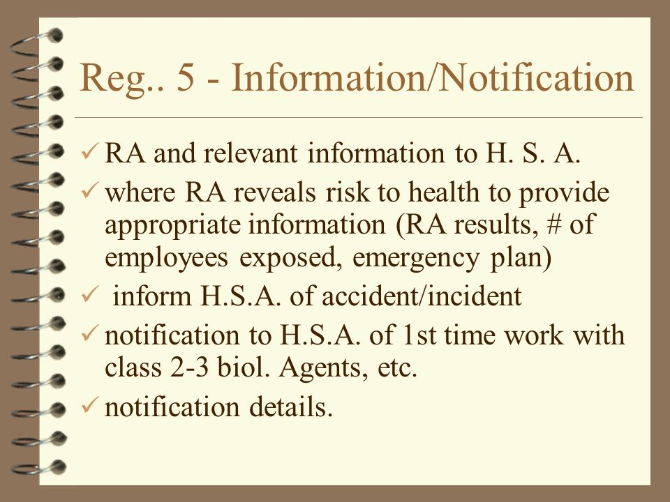 Reg Information/Notification